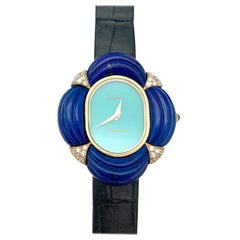 Seventies Chaumet Watch, Diamonds, Lapis Lazuli and Turquoise