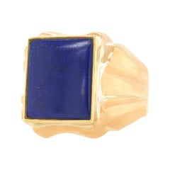 Seventies Lapis Signet Ring