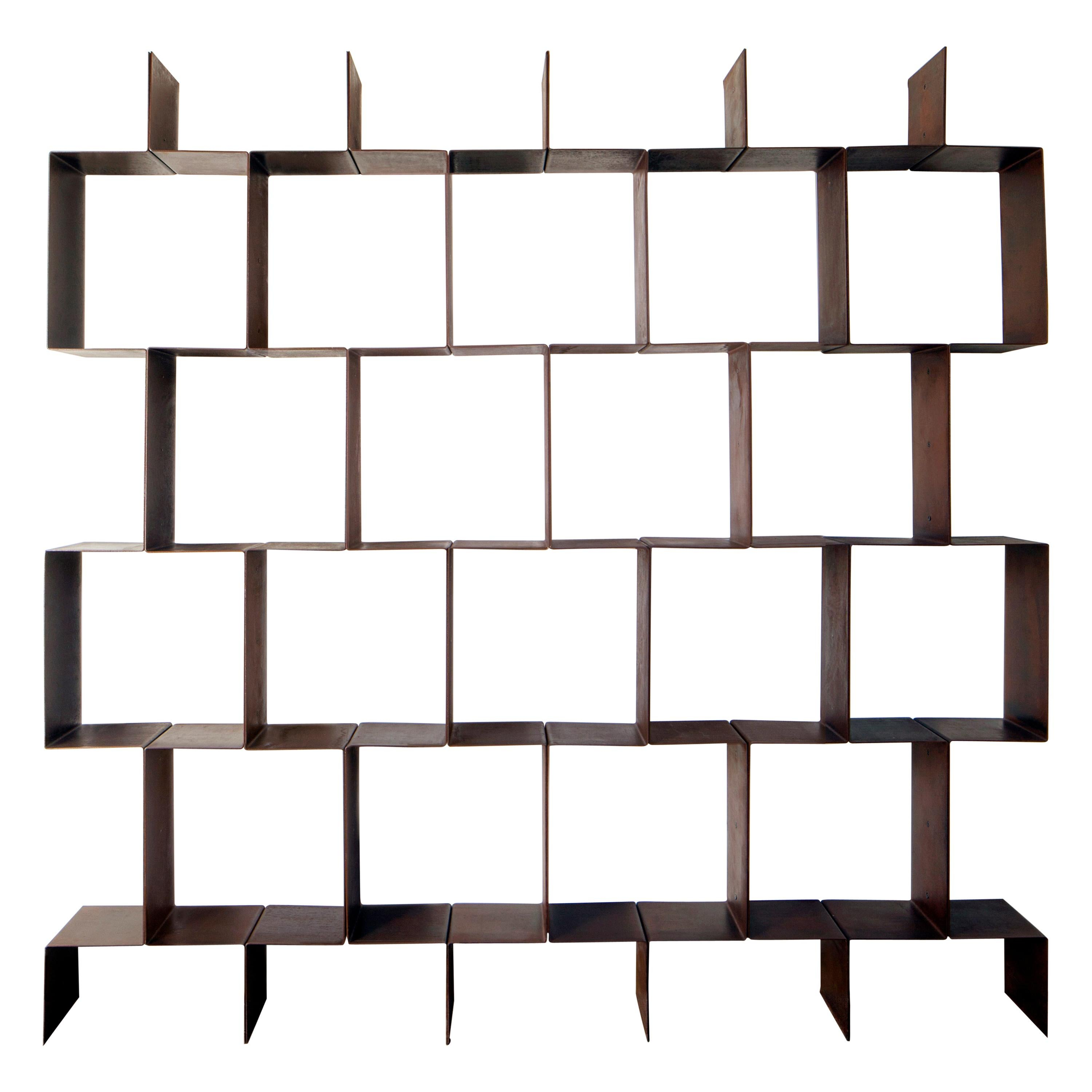 Luxury Modular Bookshelves Seventies in COR-Ten Steel, Made in Italy
