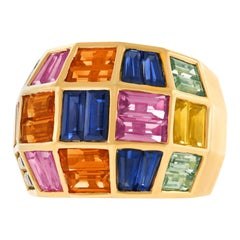 Seventies Multicolored Sapphire Ring