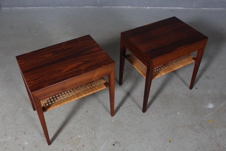 Rare pair of freestanding bedside tables designed by Severin Hansen. Produced by Haslev møbelsnedkeri in Denmark.