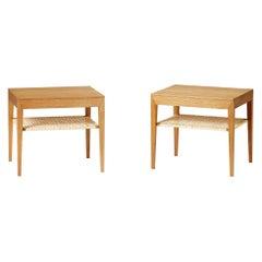 Severin Hansen Bedside Tables with Rattan Shelf