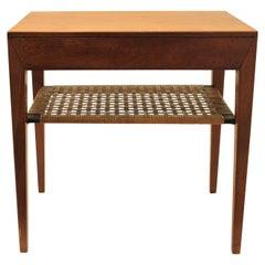 Severin Hansen Cane & Teak Side Table, Denmark, ca. 1950s