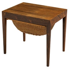 Severin Hansen for Haslev Møbelsnedkeri Side Table in Rosewood and Rotan