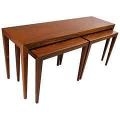 Severin Hansen Coffee Table with Nesting Tables for Haslev Brazilian Rosewood