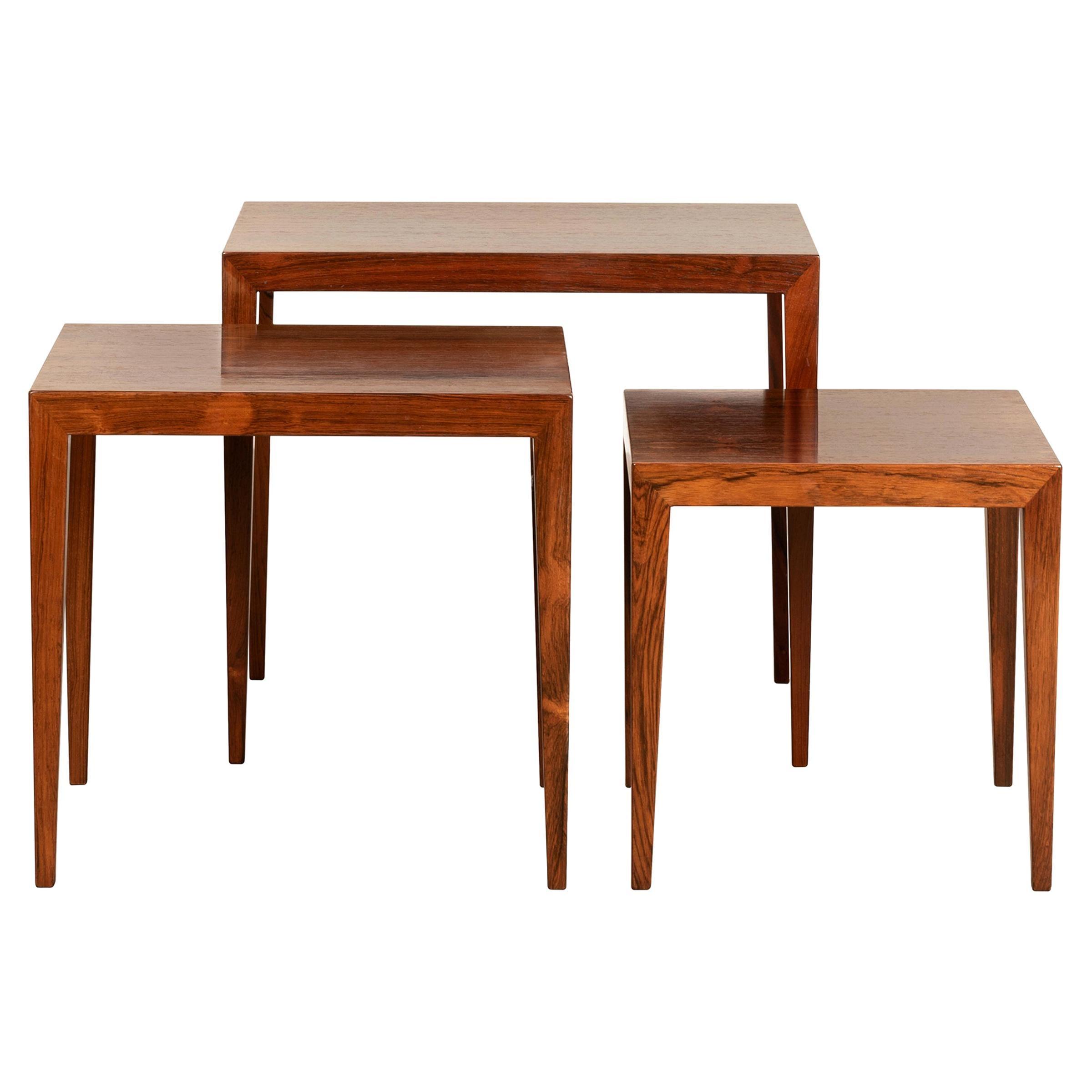 Severin Hansen Jr. Nesting Tables in Rosewood for Haslev Møbelsnedskeri, Denmark