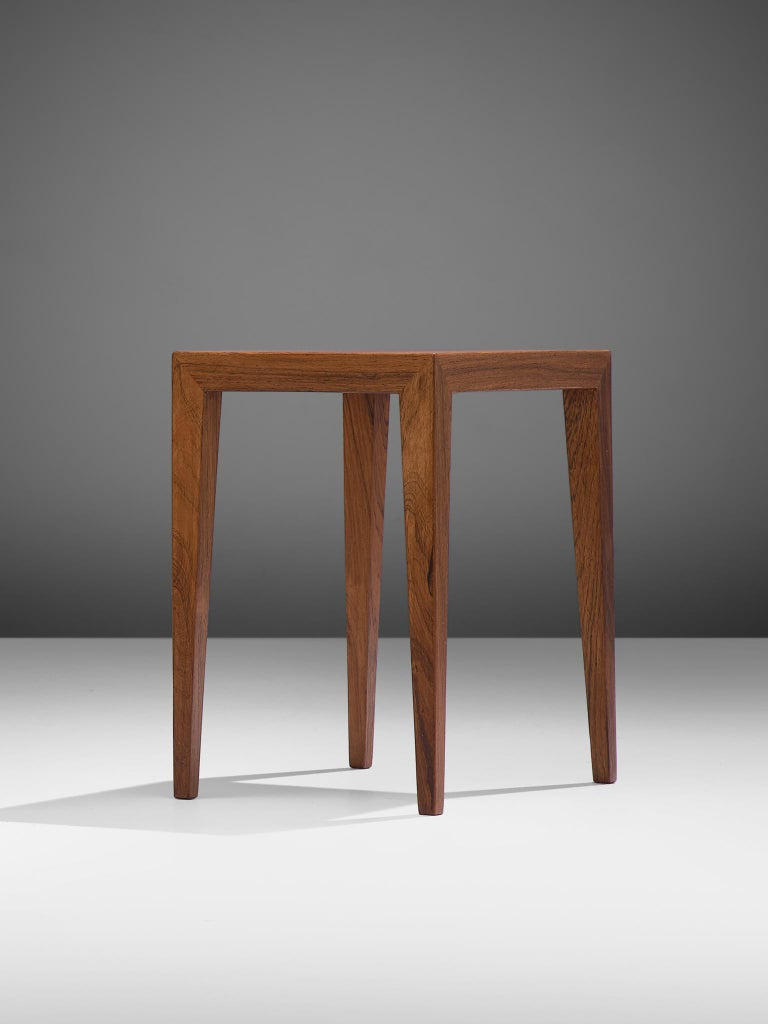 Severin Hansen Nesting Tables in Rosewood, 1950s In Good Condition For Sale In Waalwijk, NL