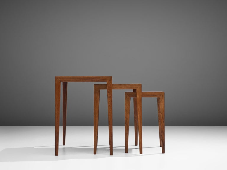 Mid-20th Century Severin Hansen Nesting Tables in Rosewood, 1950s For Sale