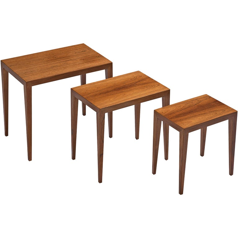 Severin Hansen Nesting Tables in Rosewood, 1950s For Sale