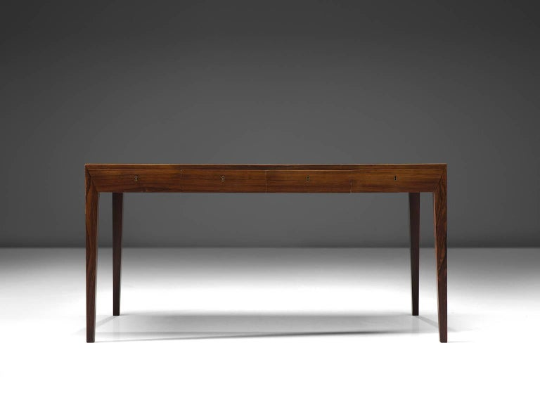 Mid-Century Modern Severin Hansen Rosewood Desk by Haslev For Sale