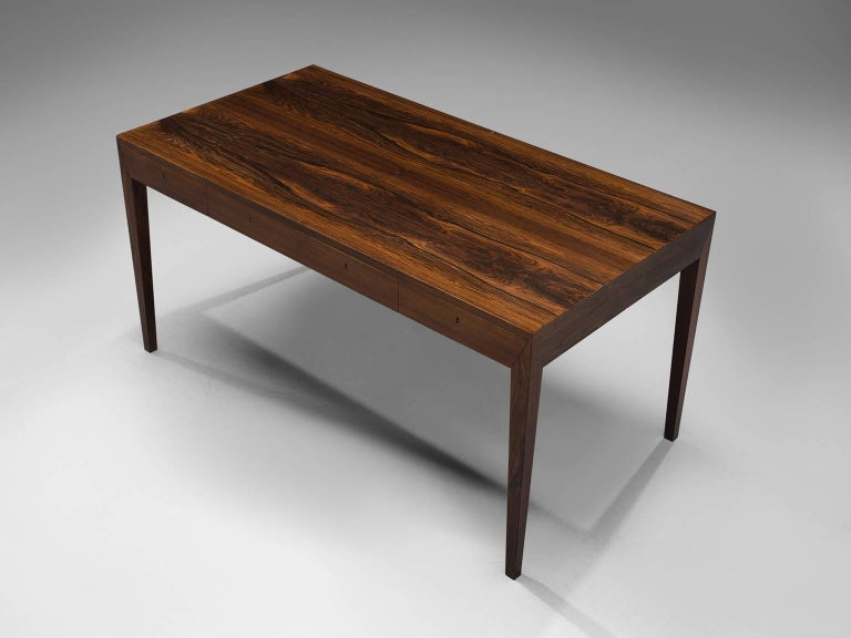 Danish Severin Hansen Rosewood Desk by Haslev For Sale