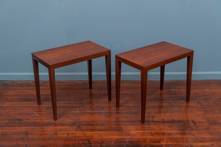 Severin Hansen design rosewood side tables for Haslev, Denmark. Newly refinished with bookmatched rosewood grain tops, labeled.