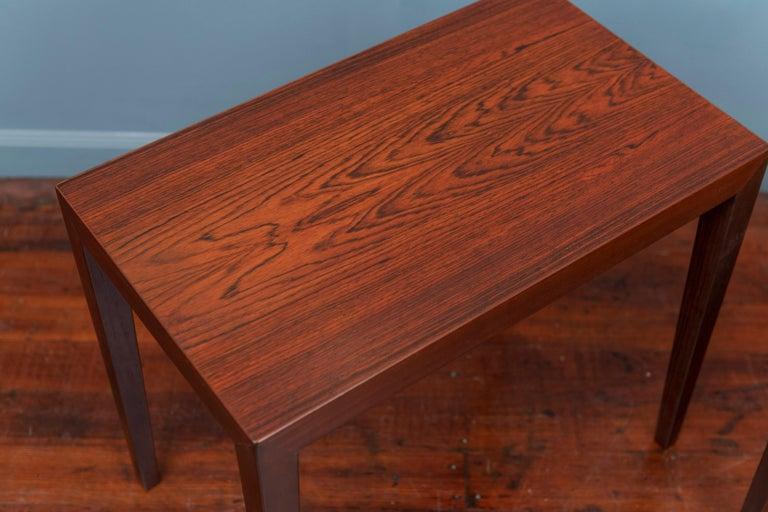 Scandinavian Modern Severin Hansen Rosewood Side Tables for Haslev For Sale