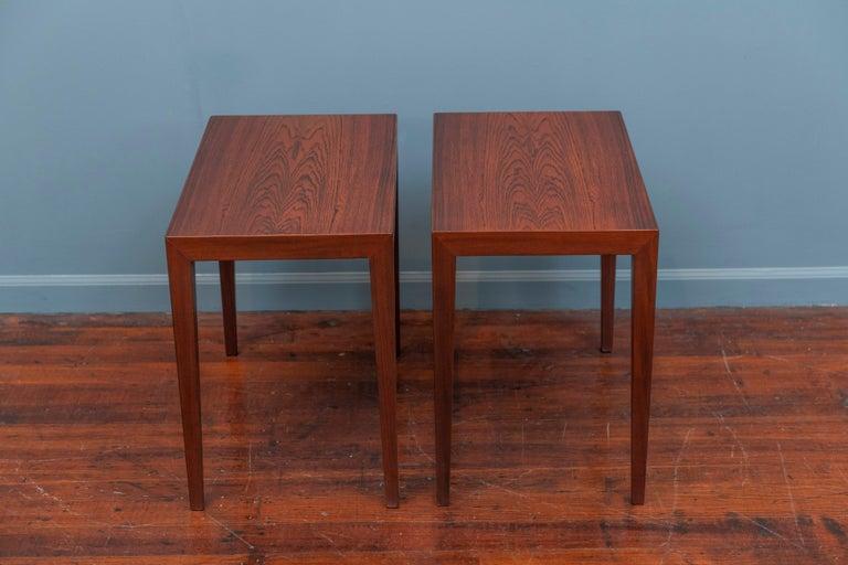 Danish Severin Hansen Rosewood Side Tables for Haslev For Sale