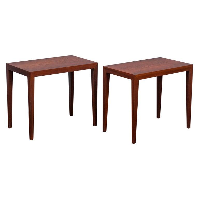 Severin Hansen Rosewood Side Tables for Haslev For Sale