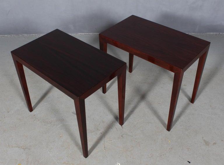Severin Hansen set of side tables / bed side tables.  Rosewood veneer.  Made by Haslev Møbler, 1960s.