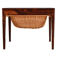 Severin Hansen Side Sewing Table by Haslev Møbelsnedkeri 1960s Made in Denmark