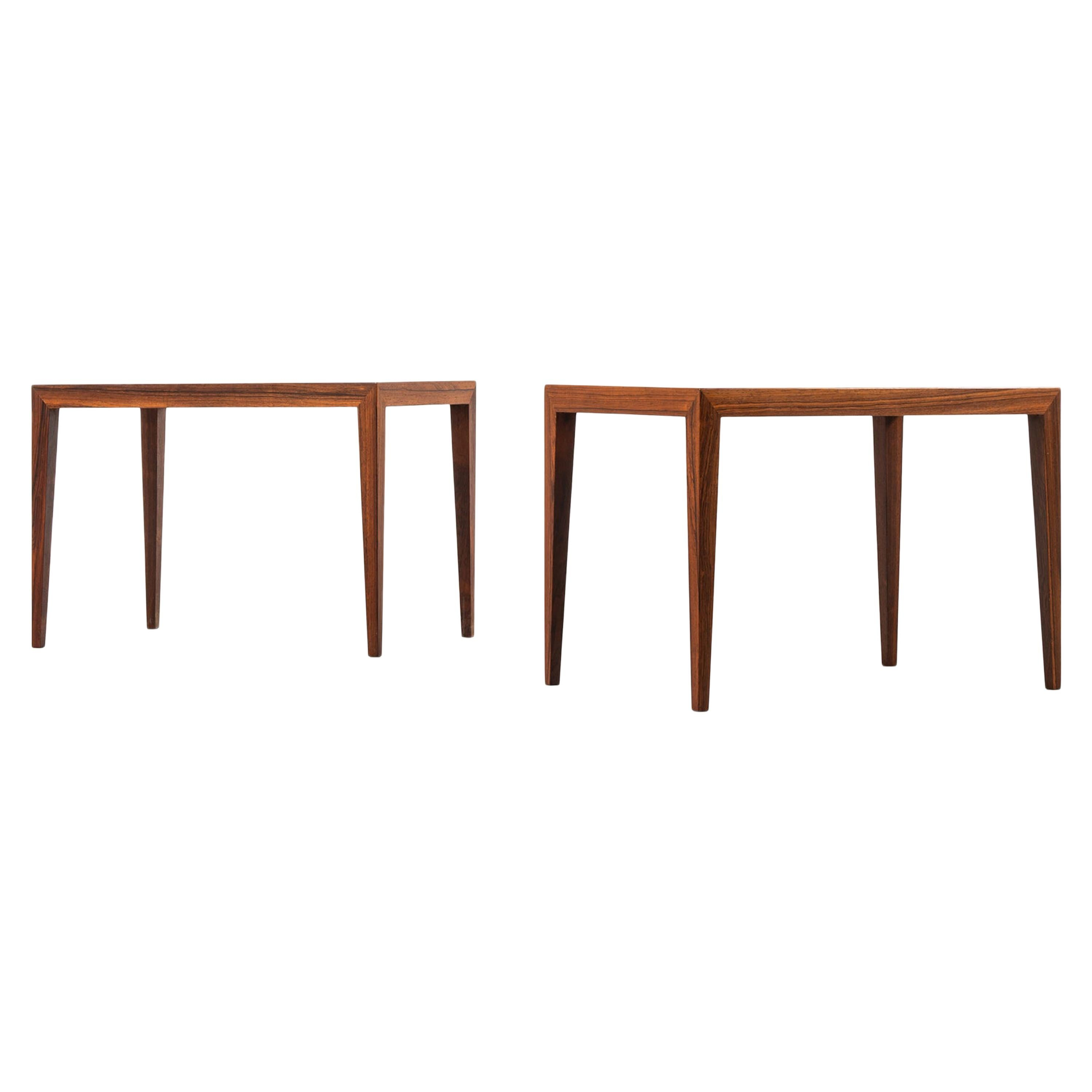 Severin Hansen Side Tables Produced by Haslev Mobelsnedkeri in Denmark