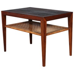 Severin Hansen Sofa Table / Side Table, Rosewood and Cane
