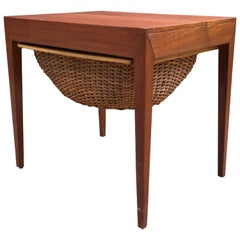 Severin Hansen Teak and Rattan Sewing Table for Haslev