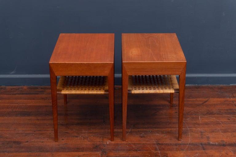 Mid-20th Century Severin Hansen Teak Bedside Tables for Haslev For Sale