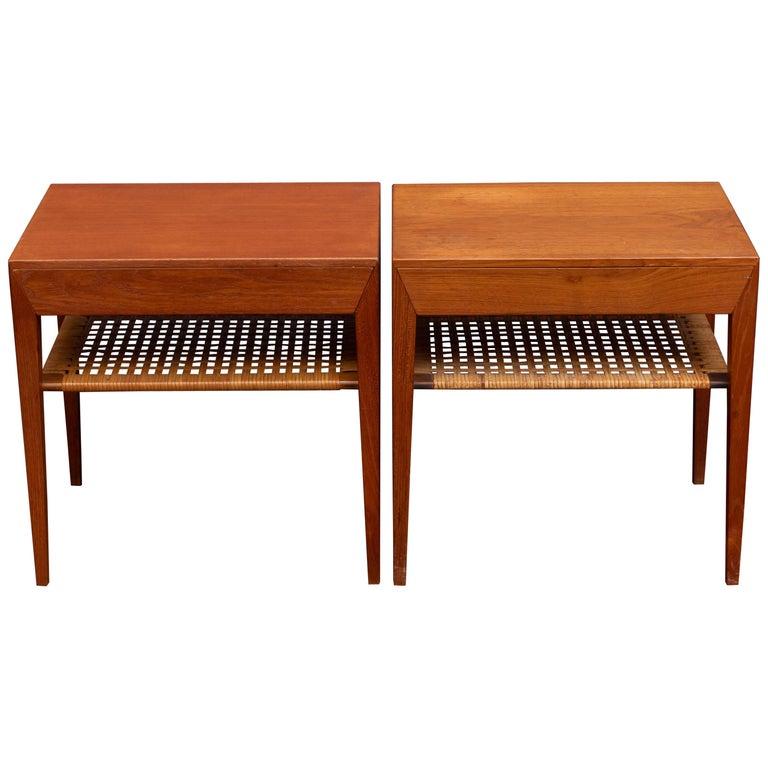Severin Hansen Teak Bedside Tables for Haslev For Sale