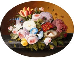 Table Top Still Life with Flowers and Bird's Nest with Eggs