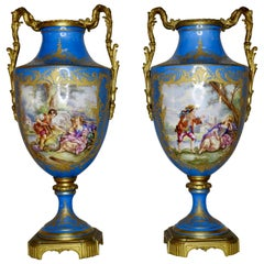 Sevre Urns Painted by E.F. Roger, 19th Century