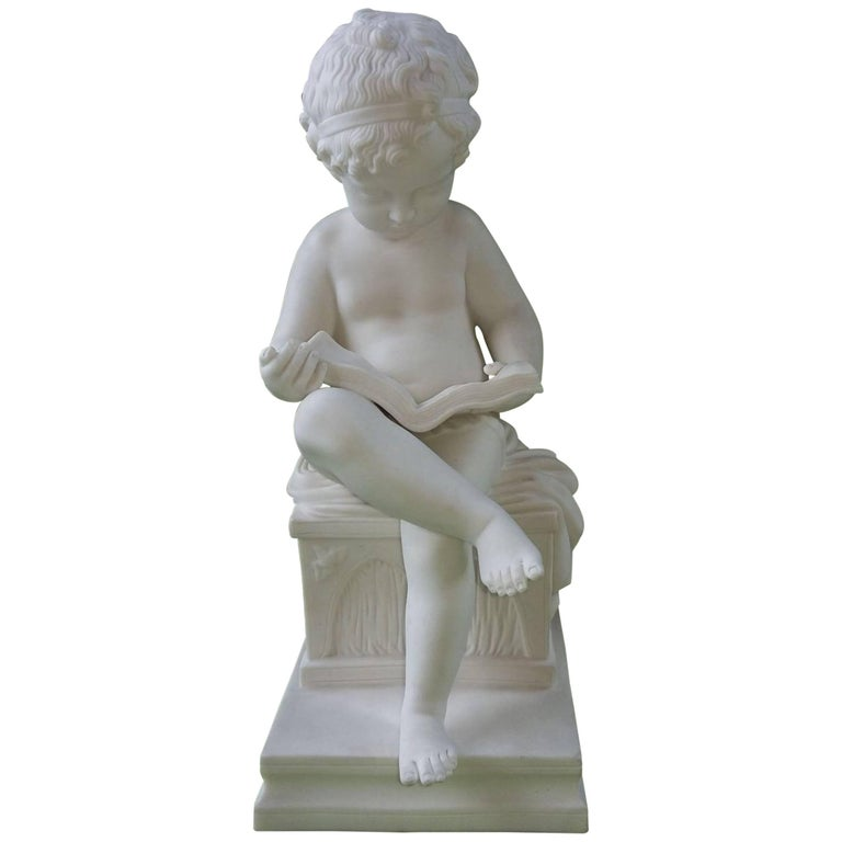 Sèvres Biscuit Figure Child Reading, Late 19th Century For Sale