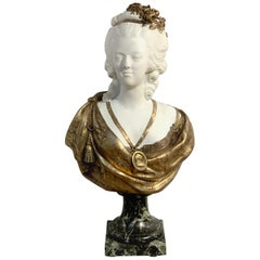 Sèvres Biscuit Porcelain and Ormolu Bust of Marie Antoinette after F. Lecomte