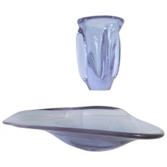 Sèvres Crystal Vase and Organic-form Dish in Neodymium Alexandrite Glass