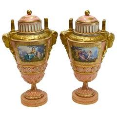 Sevres France Porcelain Jeweled Enamel Lidded Urns