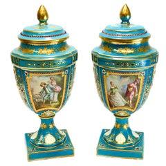Sèvres France Porcelain Jeweled Enamel Lidded Urns