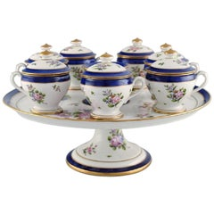 Sevres, France, Seven Antique Cream Cups on Compote in Hand Painted Porcelain
