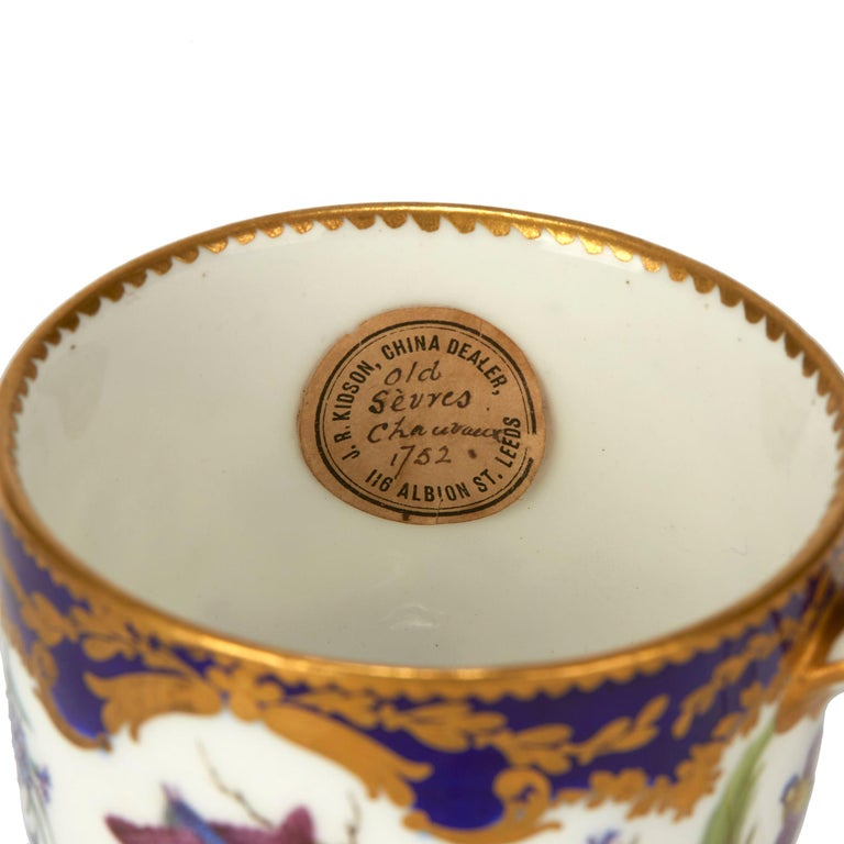 A rare and exceptional antique Sèvres soft paste porcelain cabinet teacup hand painted with birds landscapes interspersed with floral designs on a white ground within cobalt blue borders finely gilded with scroll and leaf designs dating from circa