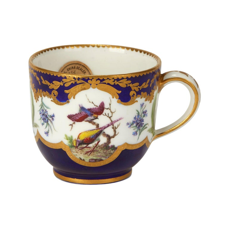 Sèvres French Porcelain Hand Painted and Gilded Teacup, circa 1752 For Sale