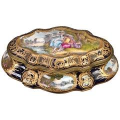 Sevres Gilded Dark Cobalt Blue Porcelain Casket Box