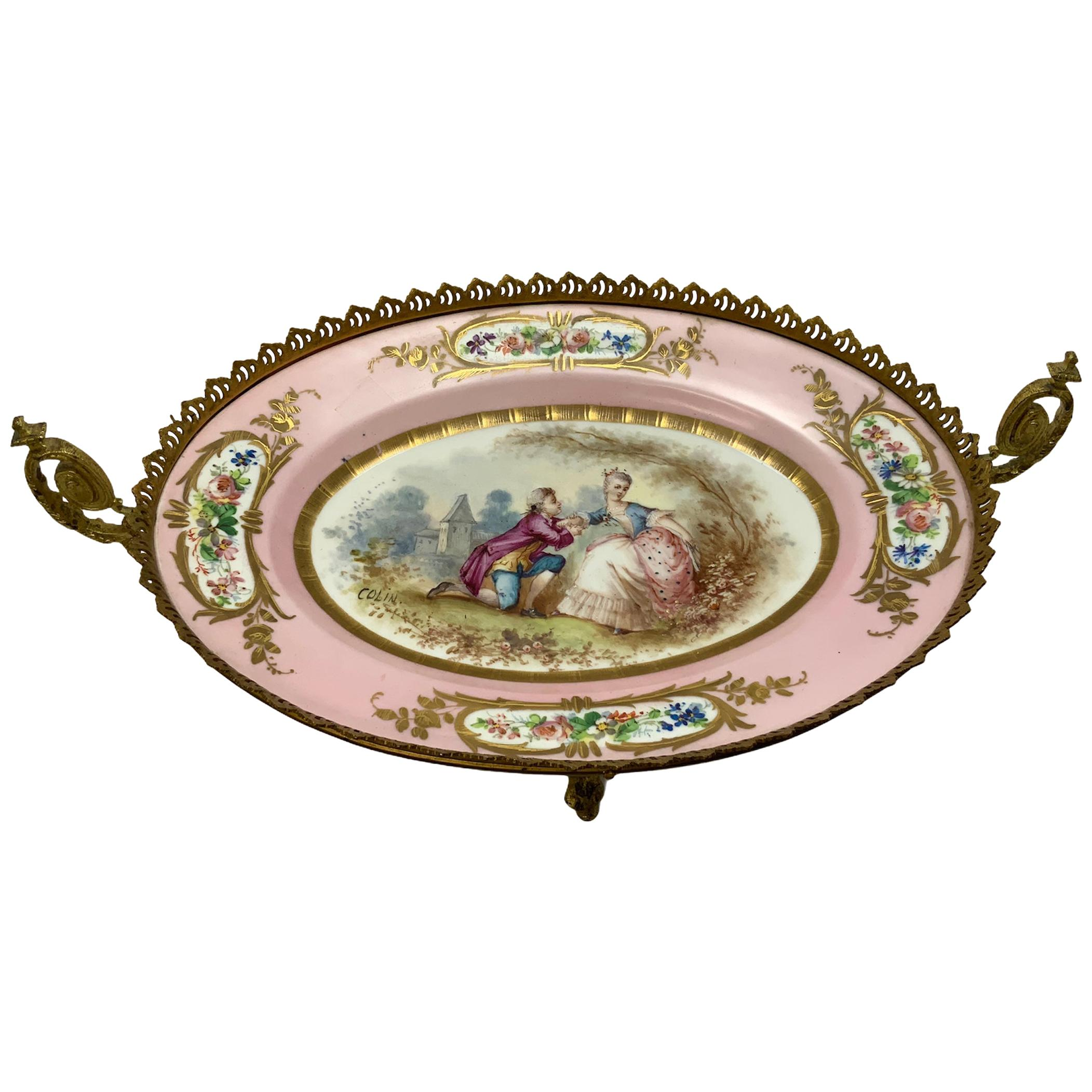 Sevres Gilt Bronze Hand Painted Porcelain Mounted Oval Dish Centerpiece