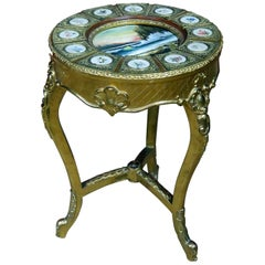 French Painted Sevres Gilt Decorated Side Table with Oil Painting Inset Top
