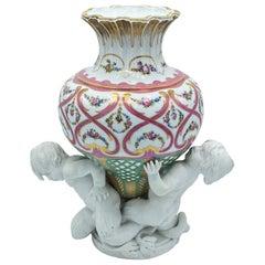 Sevres Louis XVI Style Figural Biscuit and Glazed Porcelain Vase