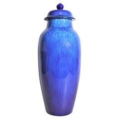 Sevres Paul Milet Ceramic Art Deco Cobalt Blue Urn or Lidded Vase