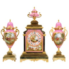 Sevres Pink Porcelain and Ormolu Antique French Clock Set Hunting Dogs & Horses