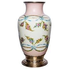 Sevres Porcelain and Silver Flower Vase, France, circa 1870