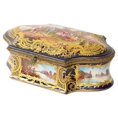 Sevres Porcelain Cobalt Blue Ground Watteau Lovers Scene Bombay form Box, Signed