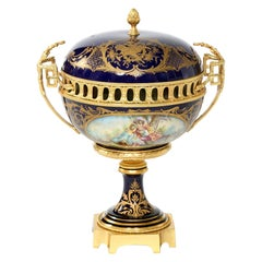 Sevres Porcelain Dore Bronze Mounted Covered Centerpiece