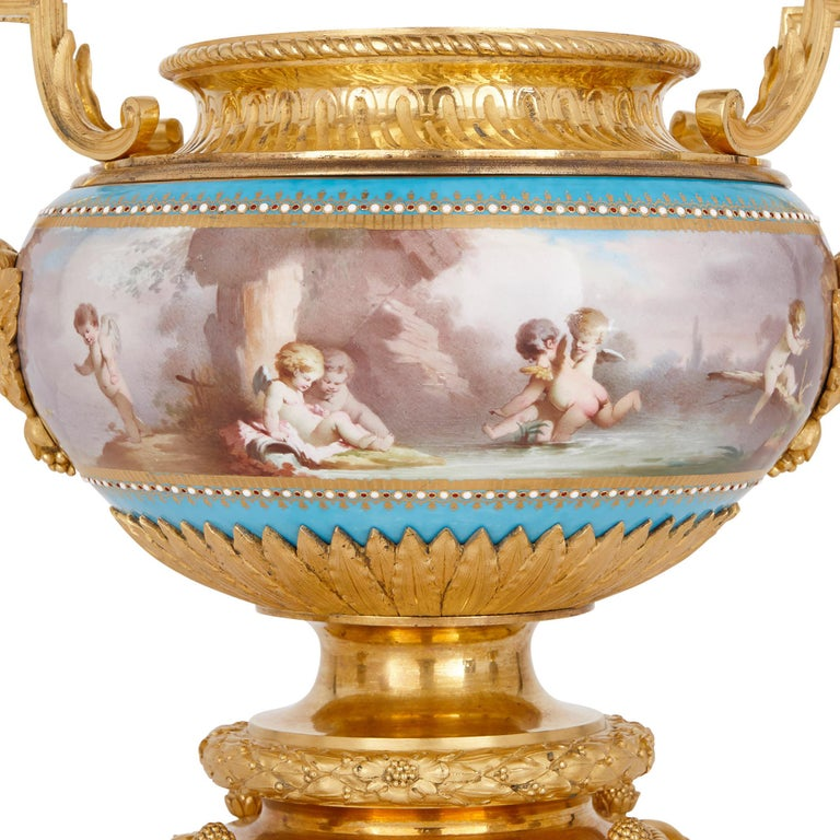 French Sèvres Porcelain Garniture, Mounted in Gilt Bronze by Picard For Sale