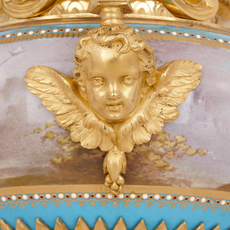 Sèvres Porcelain Garniture, Mounted in Gilt Bronze by Picard In Good Condition For Sale In London, GB