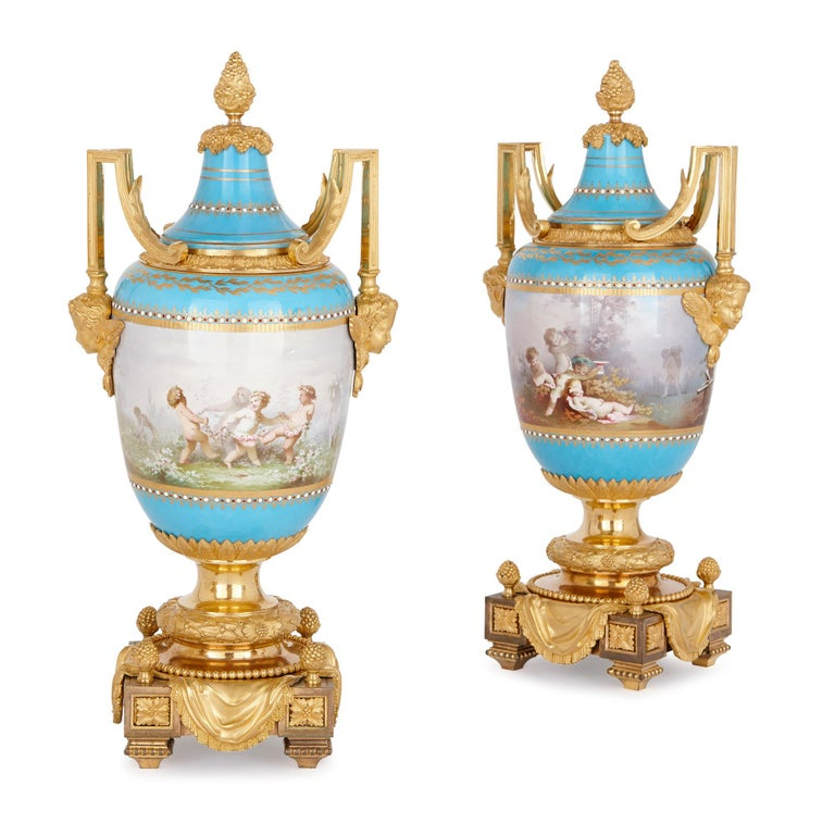 19th Century Sèvres Porcelain Garniture, Mounted in Gilt Bronze by Picard For Sale