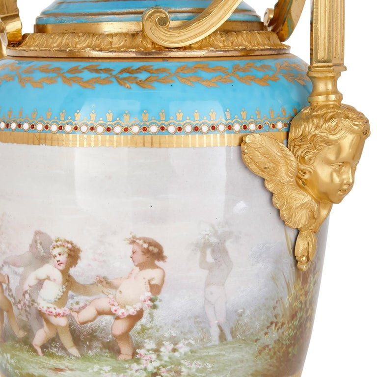 Sèvres Porcelain Garniture, Mounted in Gilt Bronze by Picard For Sale 1