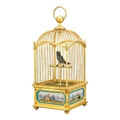 Sèvres Porcelain-Mounted Bird Cage Music Box